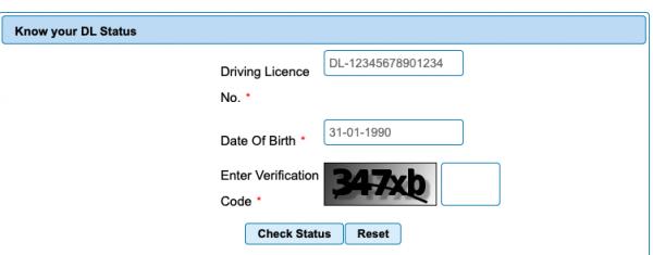 Change DL Status Online