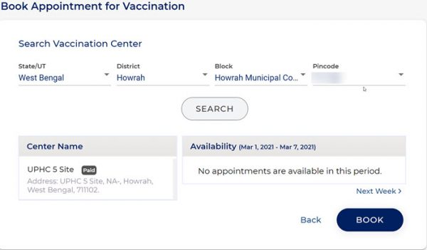 Choose appointment date and center for Covid-19 vaccine