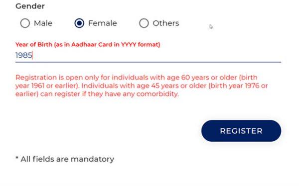 Cowin registration for 60 plus