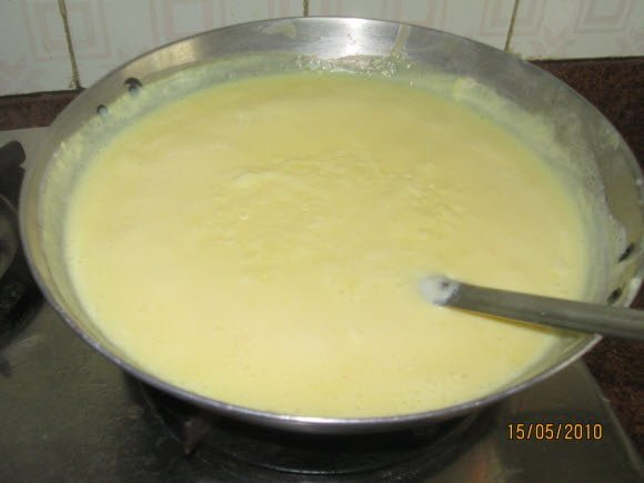 Add and Mix Paste to Boiling Milk