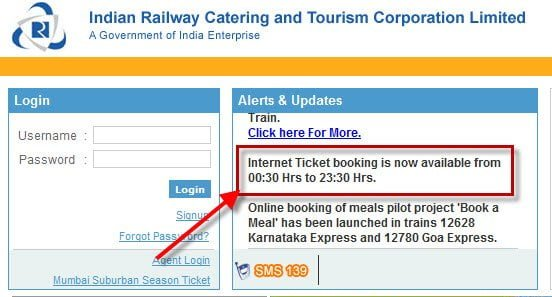 IRCTC Ticket Booking Timings