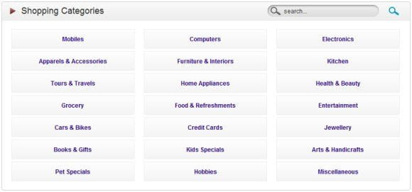 Category view of Products to browse through the offers available in your city