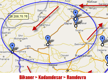 Kodamdesar Ramdevra Map