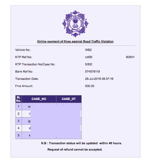 Kolkata Police Challan Receipt