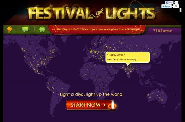 Light a virtual diya at your loved ones place
