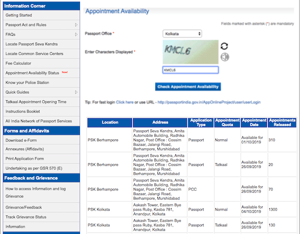 Passport Appointment Availability Check