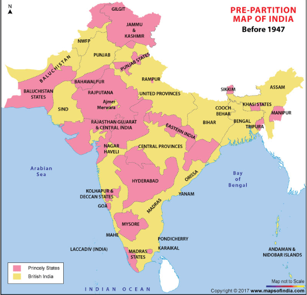 Free Download Pre-Partition Map India