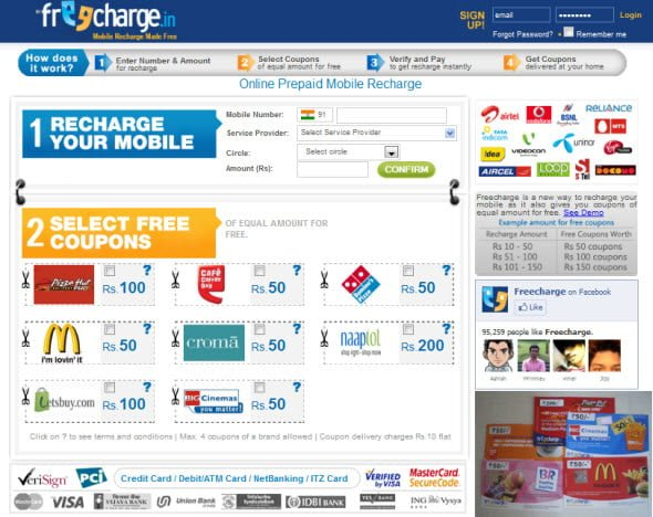 Recharge your mobile number online almost for free