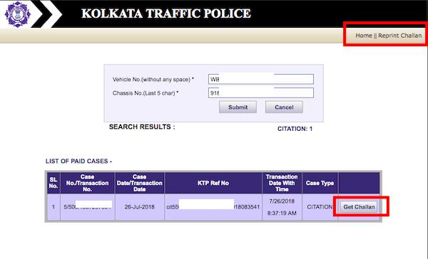 Reprint Challan Kolkata Police