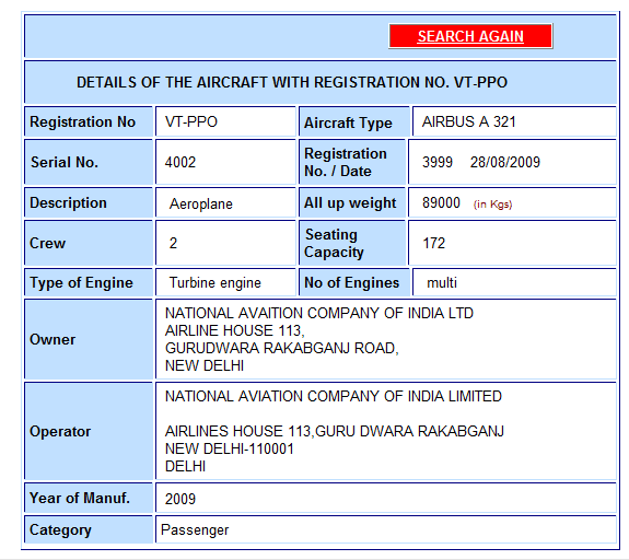 Sample search for Aircraft at DGCA