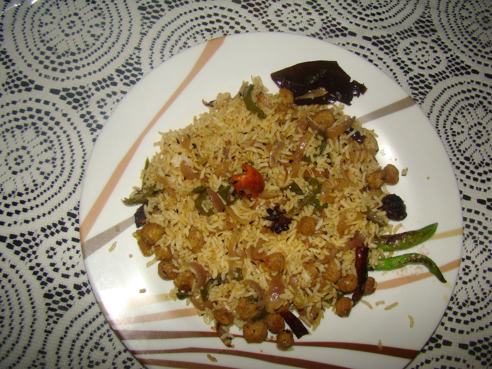 Tasty Soya Nugget Rice Pulao (Recipe)