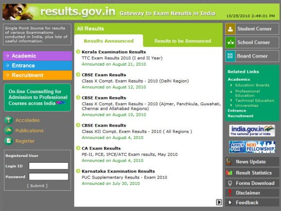 Site for Examination Results in India