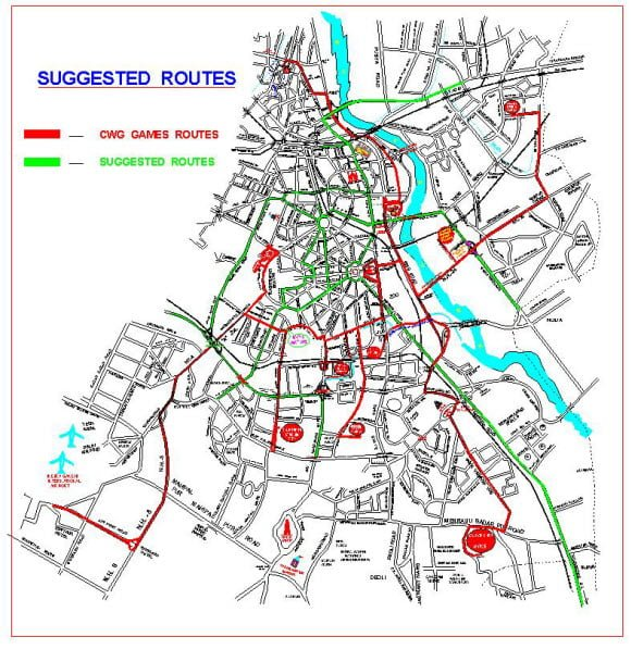 Suggested Route during CWG