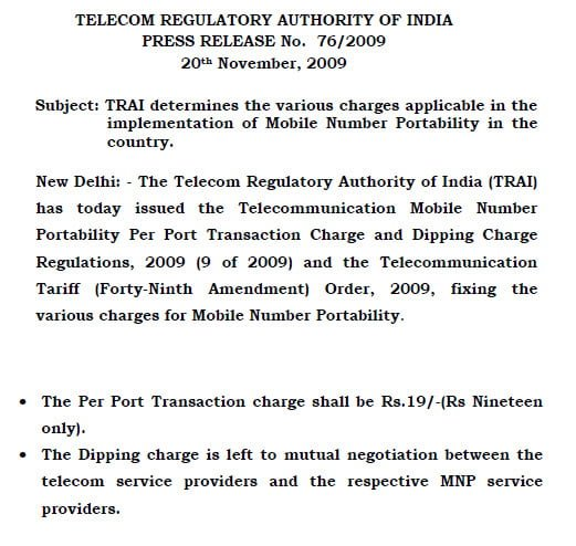TRAI on MNP Charges