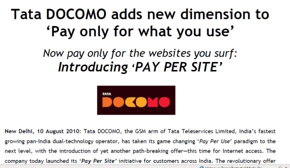 Tata Docomo Pay Per site