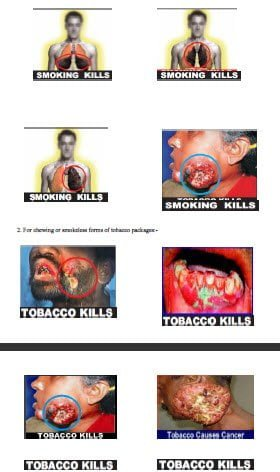 Tobacco Kills Pictorial Message for Tobacco Products