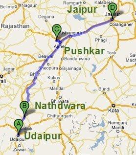 Udaipur Nathdwara Pushkar Jaipur