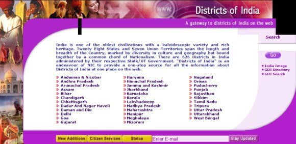 Visit the official website of any Indian District on the fly