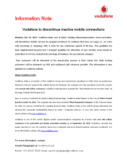 Vodafone to discontinue inactive mobile numbers