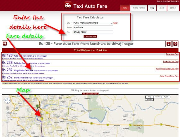 get taxi or auto fare approximate estimate between two places in a city India