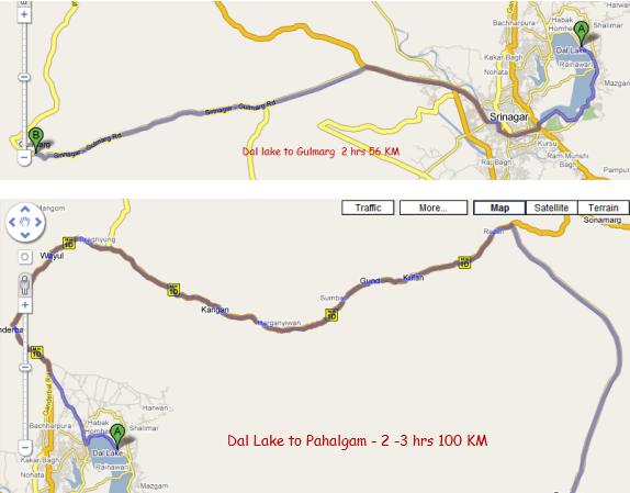 Srinagar to Pahalgam Gulmarg